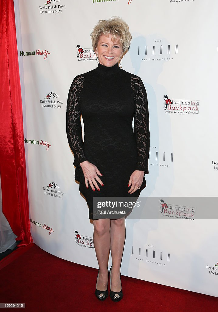 Actress <a gi-track='captionPersonalityLinkClicked' href=/galleries/search?phrase=Judi+Evans&family=editorial&specificpeople=663832 ng-click='$event.stopPropagation()'>Judi Evans</a> attends the Los Angeles Unbridled Derby prelude party at The London Hotel on January 10, 2013 in West Hollywood, California.