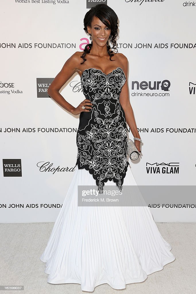 Actress Judi Shekoni arrives at the 21st Annual Elton John AIDS Foundation's Oscar Viewing Party on February 24, 2013 in Los Angeles, California.