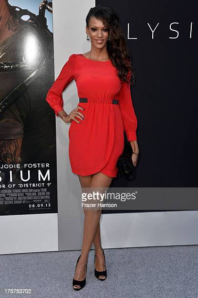 Actress Judi Shekoni arrives at the premiere of TriStar Pictures' 'Elysium' at Regency Village Theatre on August 7 2013 in Westwood California
