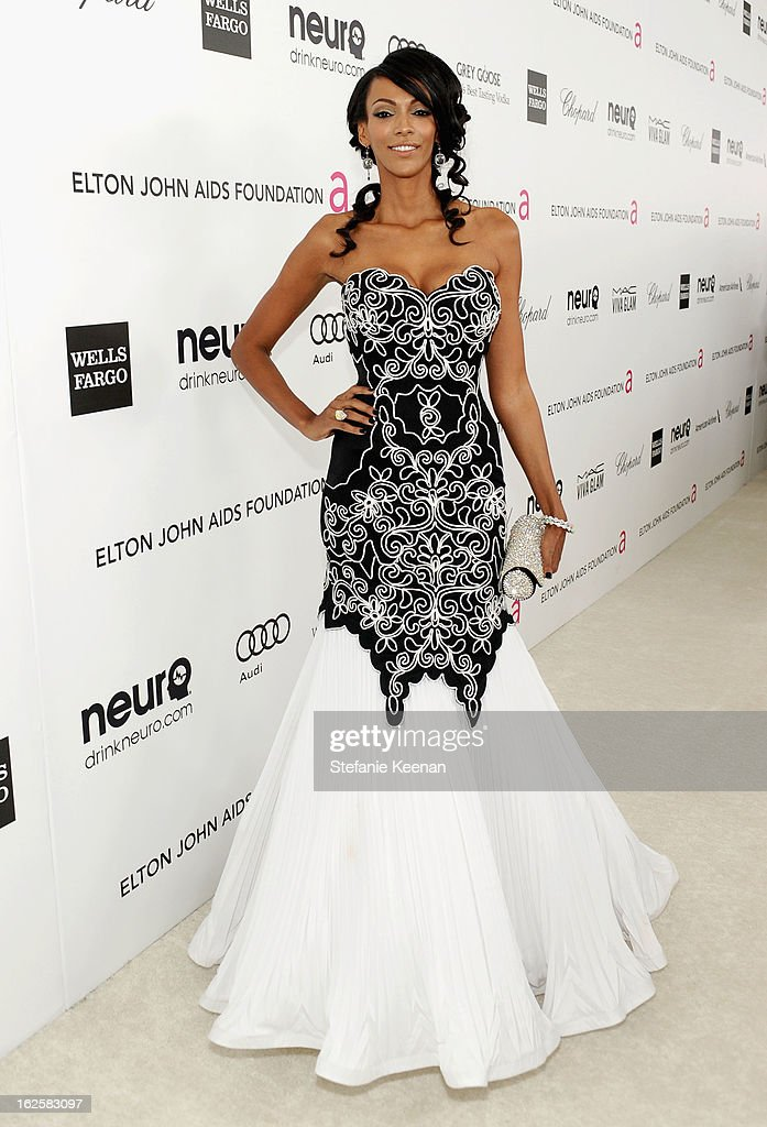 Actress Judi Shekoni attends Chopard at 21st Annual Elton John AIDS Foundation Academy Awards Viewing Party at West Hollywood Park on February 24, 2013 in West Hollywood, California.