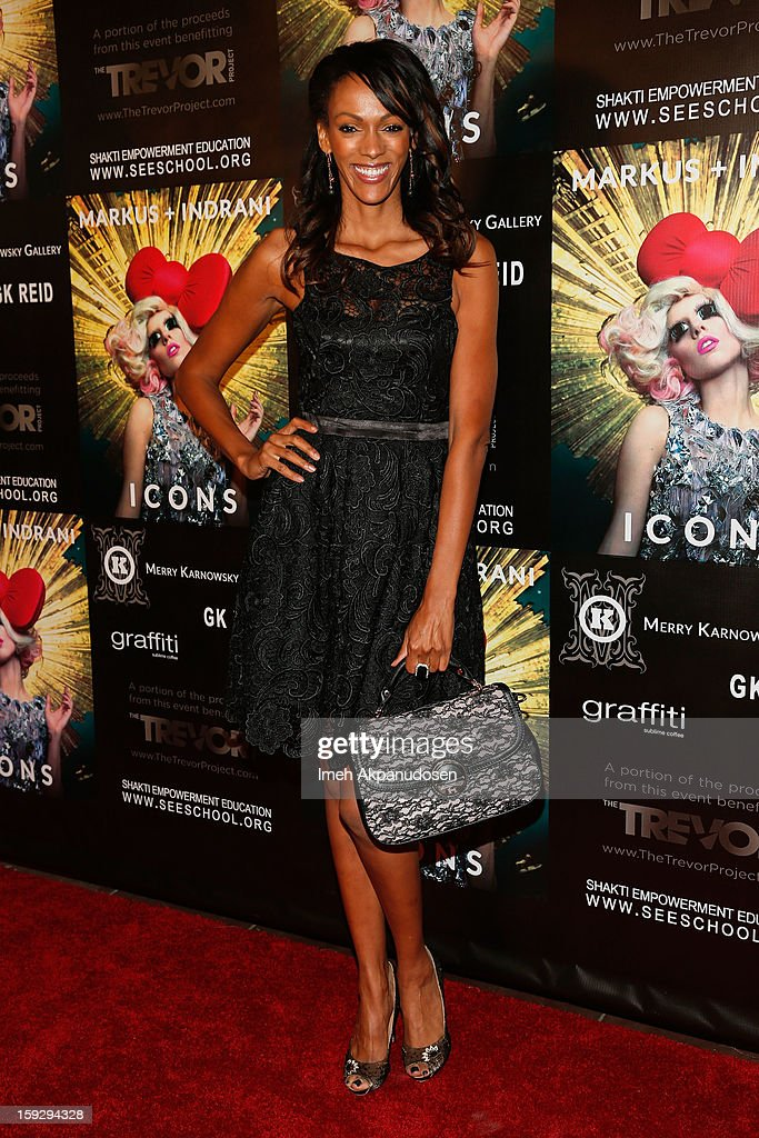Actress <a gi-track='captionPersonalityLinkClicked' href=/galleries/search?phrase=Judi+Shekoni&family=editorial&specificpeople=208917 ng-click='$event.stopPropagation()'>Judi Shekoni</a> attends the Markus + Indrani ICONS Book Launch Party at Merry Karnowsky Gallery on January 10, 2013 in Los Angeles, California.
