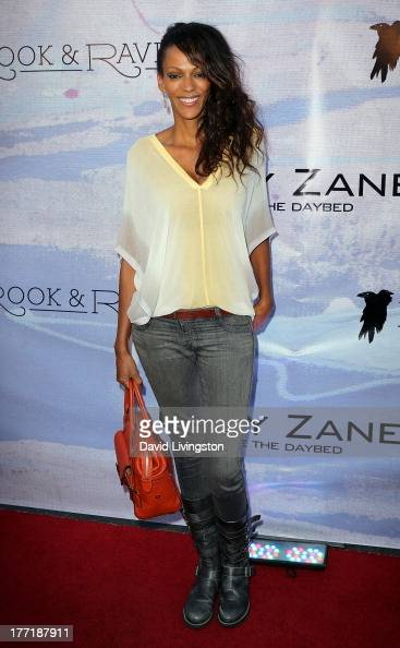 Actress Judi Shekoni attends the opening night of Billy Zane's 'Seize The Day Bed' solo art exhibition at G Gulla Jonsdottir Design on August 21 2013...