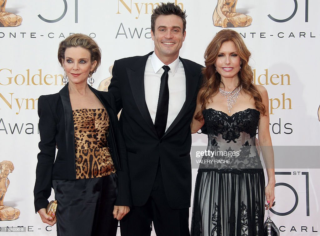 US actress Judith Chapman (L), Australian actor Daniel Goddard (C) and US actress Tracey Bregman pose during the Closing Ceremony of the 2011 Monte Carlo Television Festival held at the Grimaldi Forum on June 10, 2011 in Monte-Carlo, Monaco. The Monte Carlo Television Festival, held since 1961, aims at encouraging the new art form of television.