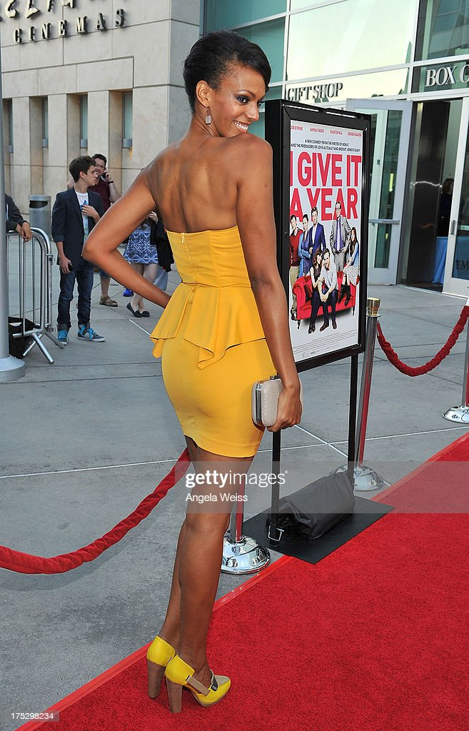 Actress Judith Shekoni arrives at the Screening of Magnolia Pictures' 'I Give It A Year' at ArcLight Hollywood on August 1, 2013 in Hollywood, California.