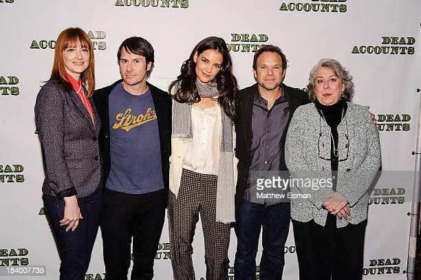 Actress Judy Greer actor Josh Hamilton actress Katie Holmes actor Norbert Leo Butz and actress Jayne Houdyshell attend the 'Dead Accounts' cast photo...