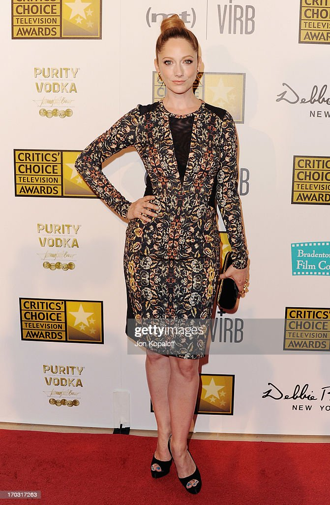Actress <a gi-track='captionPersonalityLinkClicked' href=/galleries/search?phrase=Judy+Greer&family=editorial&specificpeople=214752 ng-click='$event.stopPropagation()'>Judy Greer</a> arrives at the BTJA Critics' Choice Television Award at The Beverly Hilton Hotel on June 10, 2013 in Beverly Hills, California.