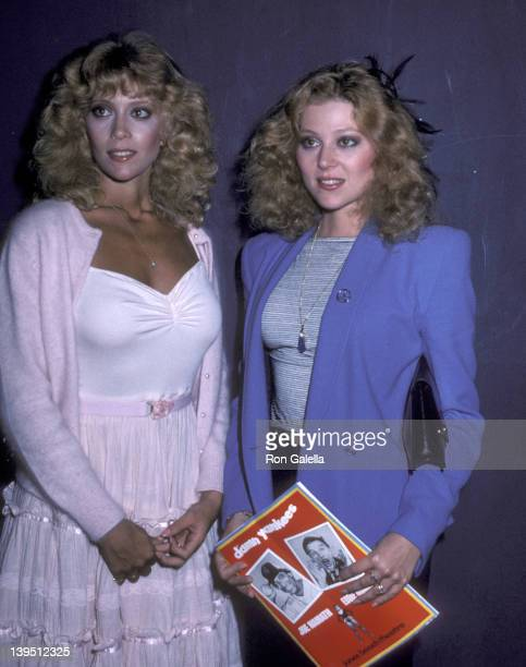 Actress Judy Landers and actress Audrey Landers pose for photographs backstage after performance of 'Damn Yankees' on July 15 1981 at the Jones Beach...