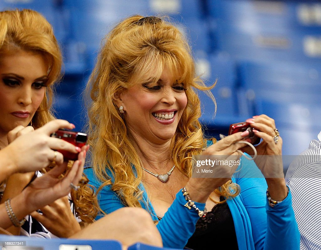 Actress Judy Landers smiles during the game between the Tampa Bay Rays and the Toronto Blue Jays at Tropicana Field on May 8, 2013 in St. Petersburg, Florida.