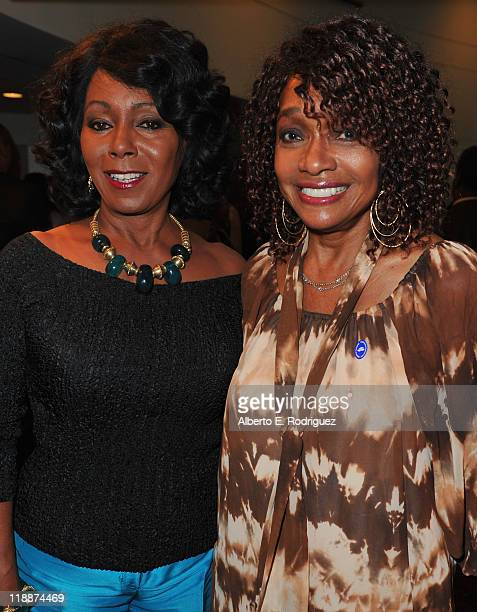Actress Judy Pace Flood and actress Beverly Todd attend the Los Angeles Premiere of HBO's 'The Curious Case of Curt Flood' at Museum Of Tolerance on...
