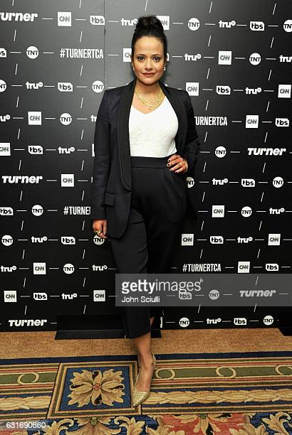 Actress Judy Reyes of 'Claws' poses in the green room during the TCA Turner Winter Press Tour 2017 Presentation at The Langham Resort on January 14...