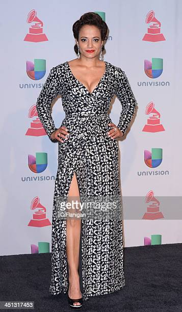 Actress Judy Reyes poses backstage during The 14th Annual Latin GRAMMY Awards at the Mandalay Bay Events Center on November 21 2013 in Las Vegas...