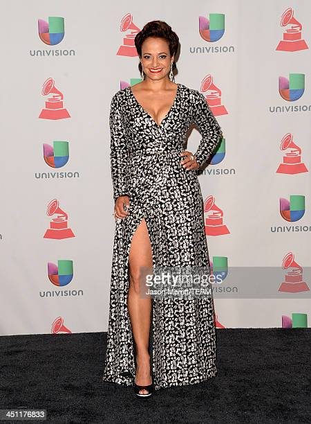 Actress Judy Reyes poses in the press room at the 14th Annual Latin GRAMMY Awards held at the Mandalay Bay Events Center on November 21 2013 in Las...