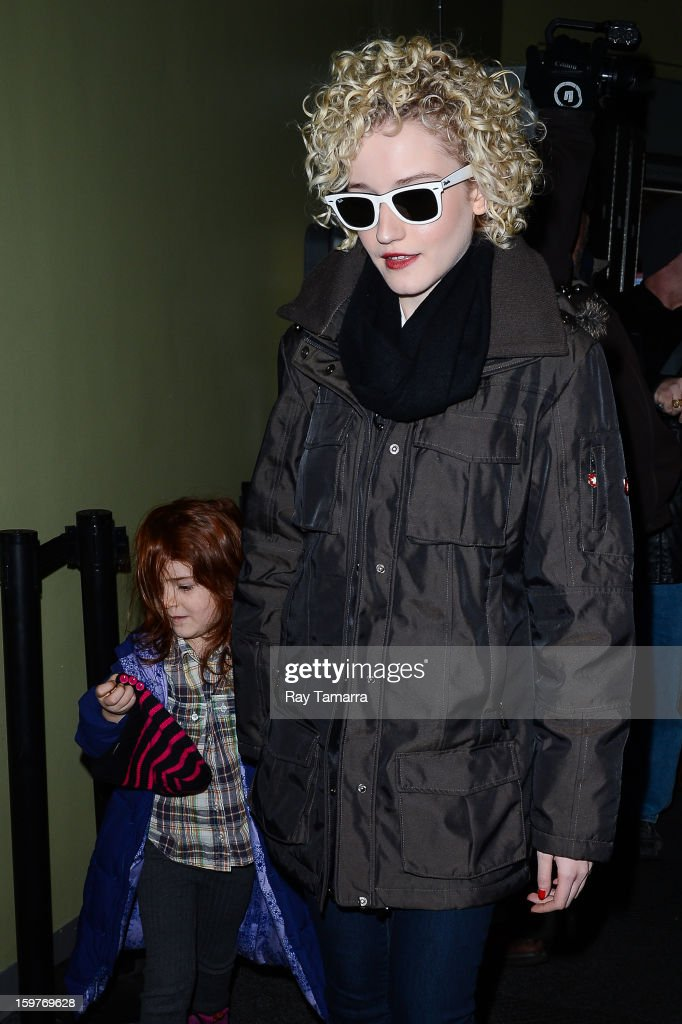 Actress Julia Garner (L) and her daughter leave the Los Angeles Times portrait studio on January 19, 2013 in Park City, Utah.