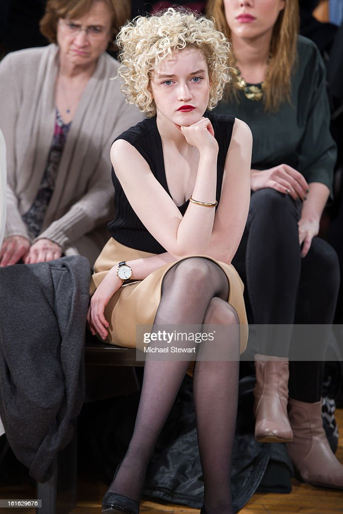 Actress Julia Garner attends Philosophy By Natalie Ratabesi during fall 2013 Mercedes-Benz Fashion Week on February 13, 2013 in New York City.