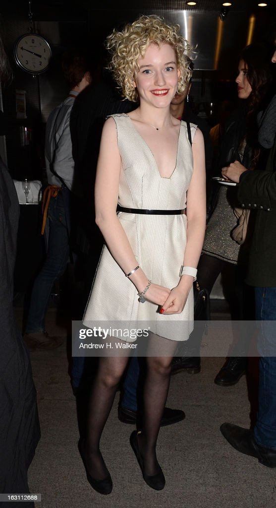 Actress Julia Garner attends the after party for The Cinema Society & Make Up For Ever screening of 'Electrick Children' at Hotel Americano on March 4, 2013 in New York City.
