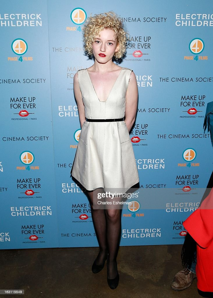 Actress Julia Garner attends The Cinema Society & Make Up For Ever host a screening of 'Electrick Children' at IFC Center on March 4, 2013 in New York City.