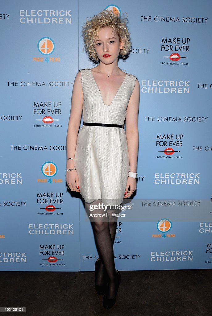 Actress Julia Garner attends The Cinema Society & Make Up For Ever screening of 'Electrick Children' at IFC Center on March 4, 2013 in New York City.