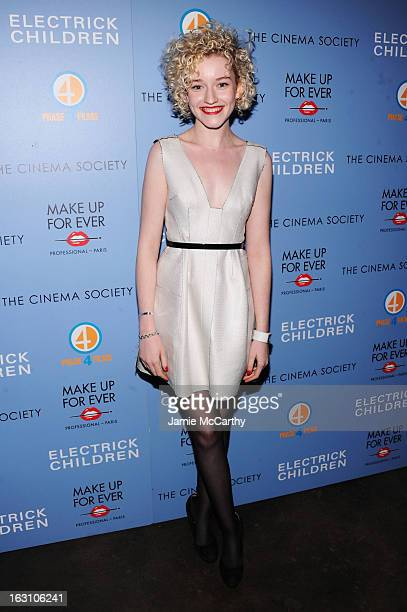 Actress Julia Garner attends The Cinema Society Make Up For Ever screening of 'Electrick Children' at IFC Center on March 4 2013 in New York City