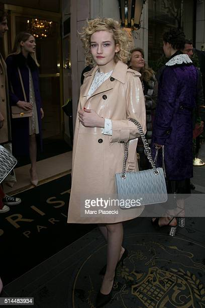 Actress Julia Garner is seen leaving the 'Bristol' hotel on March 9 2016 in Paris France