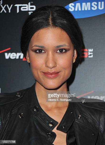 Actress Julia Jones arrives to the Samsung and Verizon Launch of The Samsung Galaxy Tab 101 on August 2 2011 in West Hollywood California