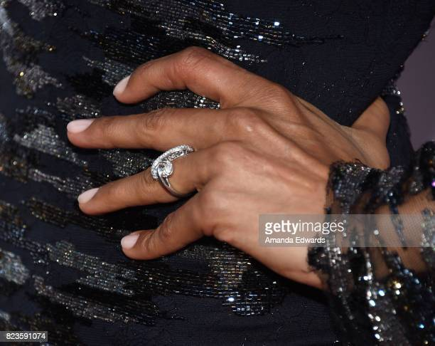 Actress Julia Jones ring detail arrives at the premiere of The Weinstein Company's 'Wind River' at The Theatre at Ace Hotel on July 26 2017 in Los...