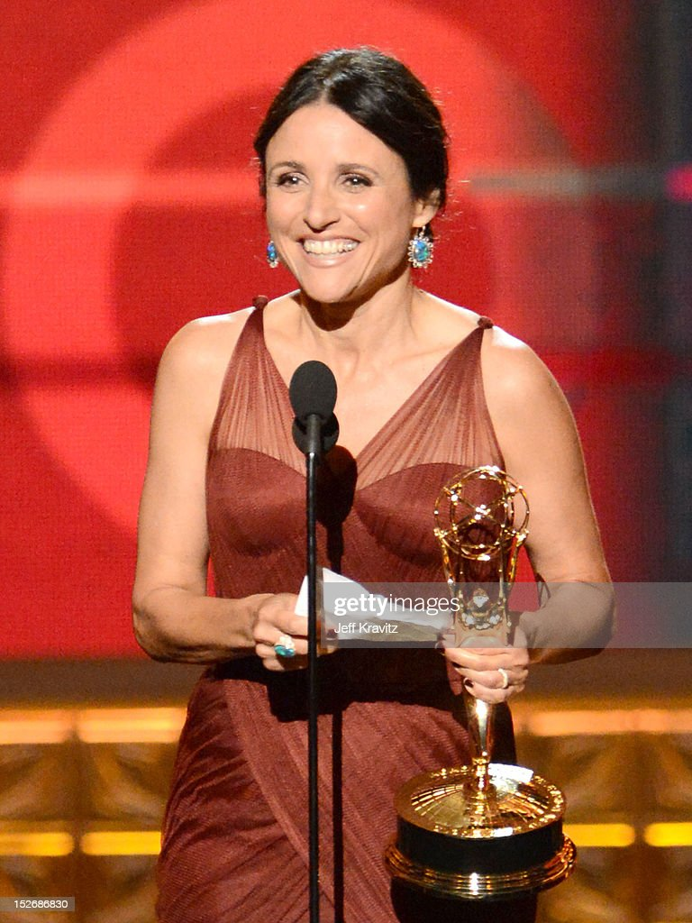 Actress Julia Louis-Dreyfus accepts her award onstage during the 64th Primetime Emmy Awards at Nokia Theatre L.A. Live on September 23, 2012 in Los Angeles, California.