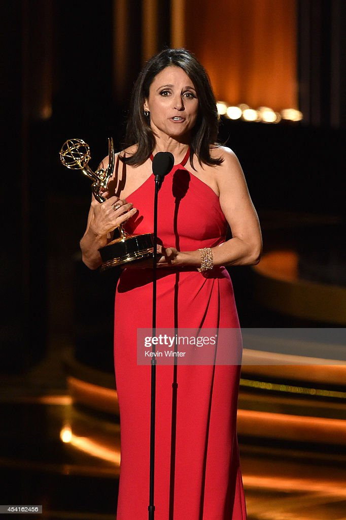 Actress Julia LouisDreyfus accepts Outstanding Lead Actress in a Comedy Series for 'Veep' onstage at the 66th Annual Primetime Emmy Awards held at...