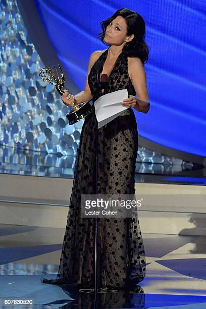 Actress Julia LouisDreyfus accepts the Oustanding Lead Actress in a Comedy Series award for 'Veep' onstage during the 68th Annual Primetime Emmy...