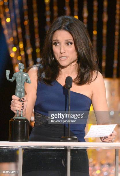 Actress Julia LouisDreyfus accepts the Outstanding Performance by a Female Actor in a Comedy Series award for 'Veep' onstage during the 20th Annual...