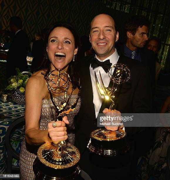 Actress Julia LouisDreyfus and actor Tony Hale attend HBO's Annual Primetime Emmy Awards Post Award Reception at The Plaza at the Pacific Design...