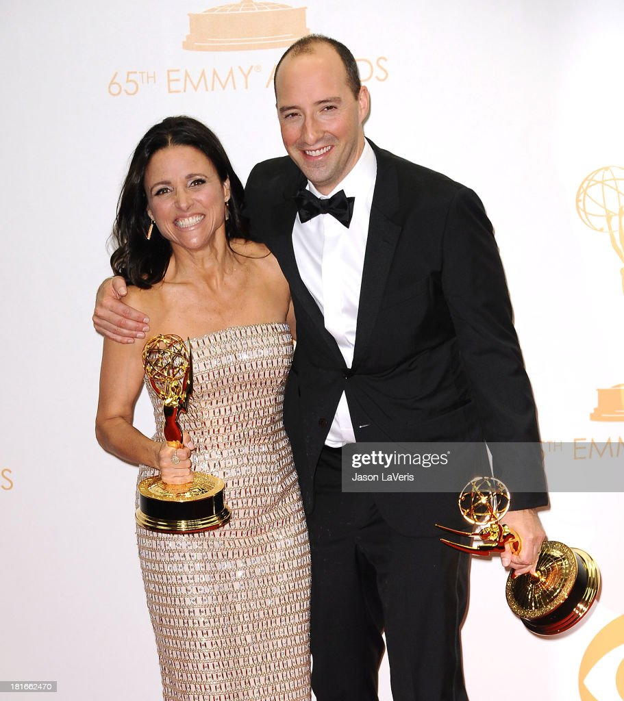 Actress <a gi-track='captionPersonalityLinkClicked' href=/galleries/search?phrase=Julia+Louis-Dreyfus&family=editorial&specificpeople=208965 ng-click='$event.stopPropagation()'>Julia Louis-Dreyfus</a> and actor <a gi-track='captionPersonalityLinkClicked' href=/galleries/search?phrase=Tony+Hale&family=editorial&specificpeople=745565 ng-click='$event.stopPropagation()'>Tony Hale</a> pose in the press room at the 65th annual Primetime Emmy Awards at Nokia Theatre L.A. Live on September 22, 2013 in Los Angeles, California.