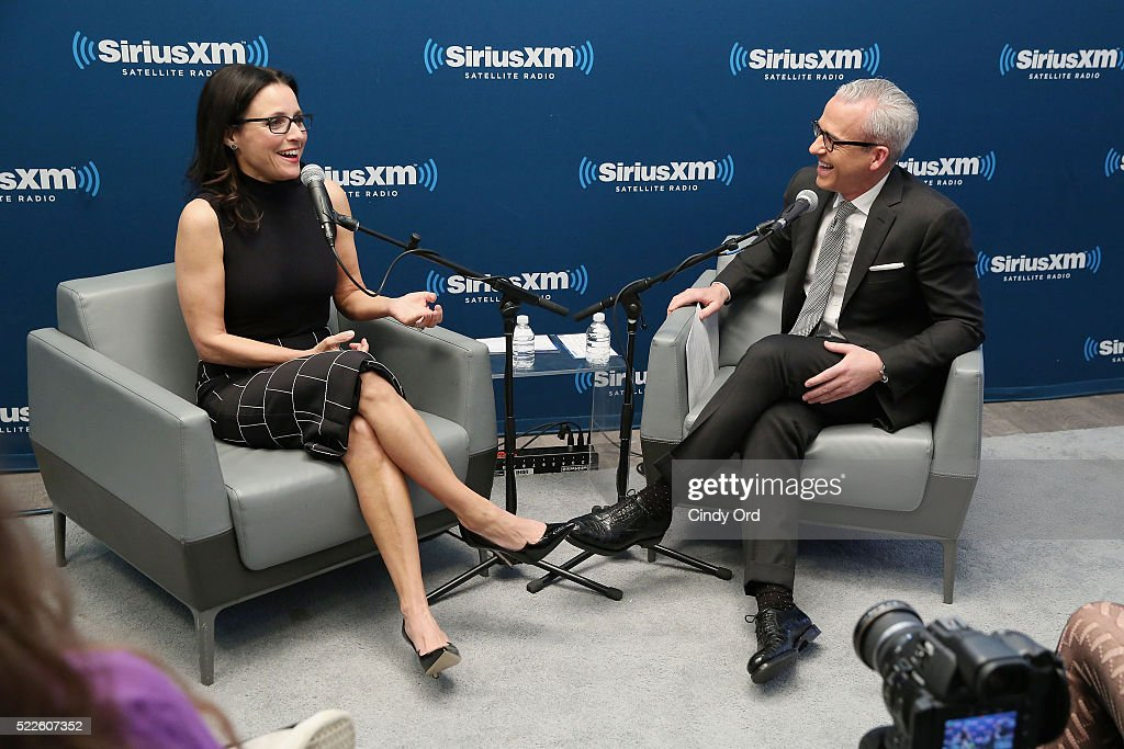 Actress Julia LouisDreyfus and Editorial Director at PEOPLE and EW Jess Cagle appear during the SiriusXM 'Town Hall' with Julia LouisDreyfus Town...