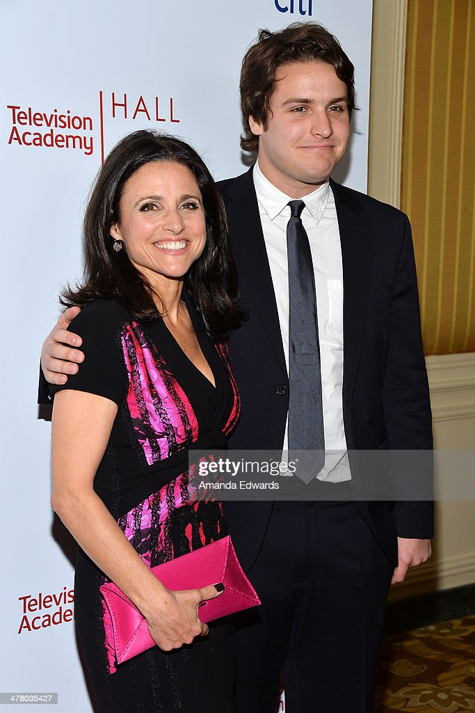 Actress <a gi-track='captionPersonalityLinkClicked' href=/galleries/search?phrase=Julia+Louis-Dreyfus&family=editorial&specificpeople=208965 ng-click='$event.stopPropagation()'>Julia Louis-Dreyfus</a> (L) and her son Henry Hall arrive at the The Television Academy's 23rd Hall Of Fame Induction Gala at The Regent Beverly Wilshire Hotel on March 11, 2014 in Beverly Hills, California.