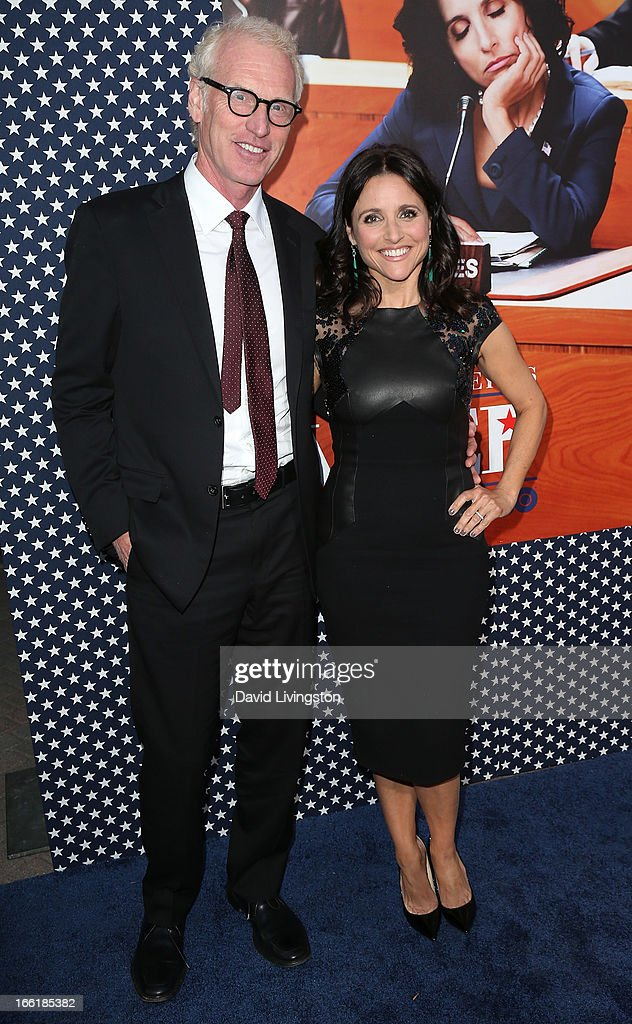 Actress <a gi-track='captionPersonalityLinkClicked' href=/galleries/search?phrase=Julia+Louis-Dreyfus&family=editorial&specificpeople=208965 ng-click='$event.stopPropagation()'>Julia Louis-Dreyfus</a> (R) and husband writer <a gi-track='captionPersonalityLinkClicked' href=/galleries/search?phrase=Brad+Hall&family=editorial&specificpeople=1541108 ng-click='$event.stopPropagation()'>Brad Hall</a> attend the premiere of HBO's 'VEEP' Season 2 at Paramount Studios on April 9, 2013 in Hollywood, California.