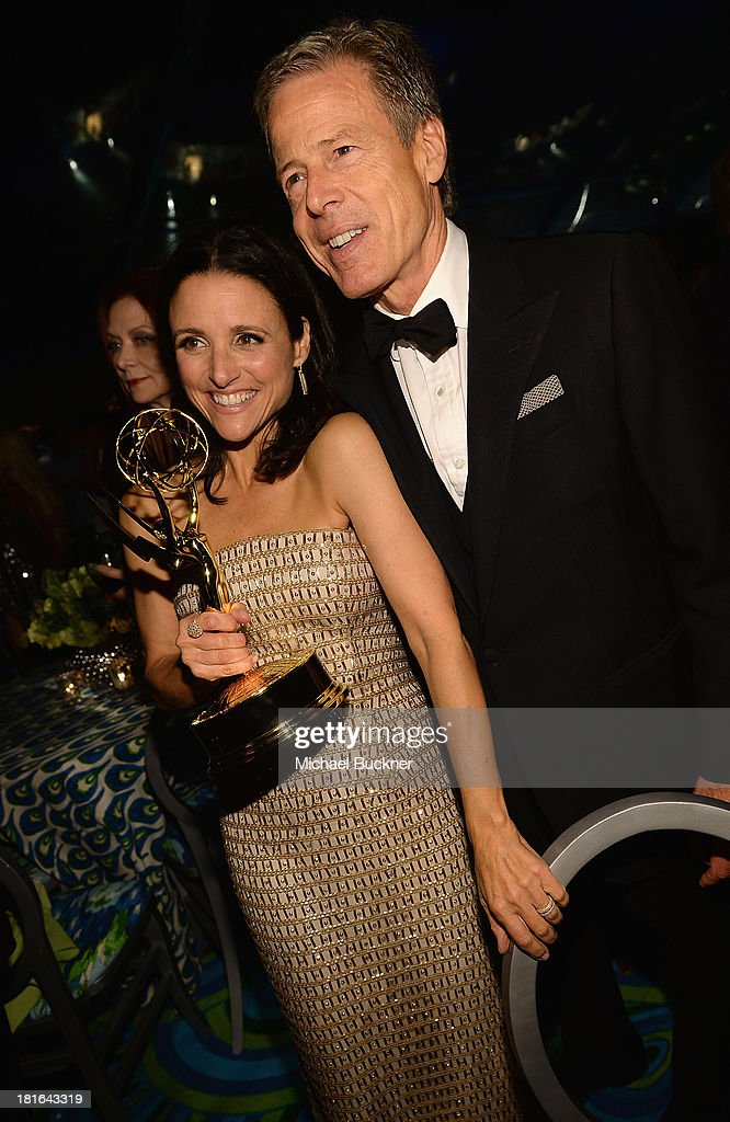 Actress <a gi-track='captionPersonalityLinkClicked' href=/galleries/search?phrase=Julia+Louis-Dreyfus&family=editorial&specificpeople=208965 ng-click='$event.stopPropagation()'>Julia Louis-Dreyfus</a> (L) and Jeffrey Bewkes of HBO attend HBO's Annual Primetime Emmy Awards Post Award Reception at The Plaza at the Pacific Design Center on September 22, 2013 in Los Angeles, California.