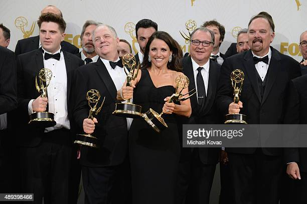 Actress Julia LouisDreyfus and the cast and crew of 'Veep' winners of Outstanding Comedy Series pose in the press room at the 67th Annual Primetime...