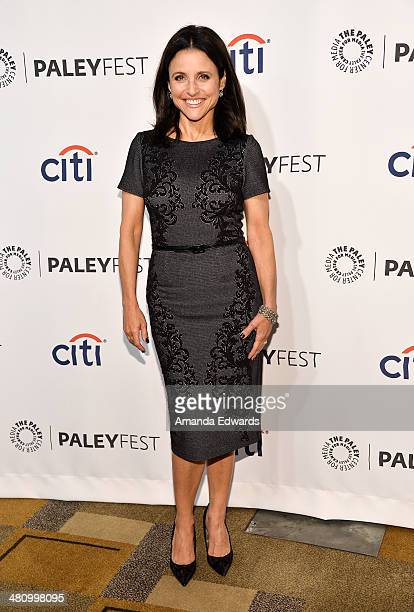 Actress Julia LouisDreyfus arrives at the 2014 PaleyFest 'VEEP' event at The Dolby Theatre on March 27 2014 in Hollywood California