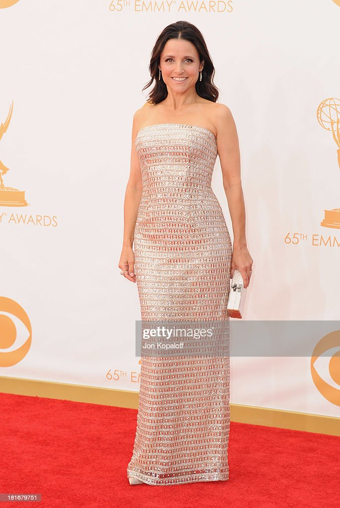 Actress <a gi-track='captionPersonalityLinkClicked' href=/galleries/search?phrase=Julia+Louis-Dreyfus&family=editorial&specificpeople=208965 ng-click='$event.stopPropagation()'>Julia Louis-Dreyfus</a> arrives at the 65th Annual Primetime Emmy Awards at Nokia Theatre L.A. Live on September 22, 2013 in Los Angeles, California.