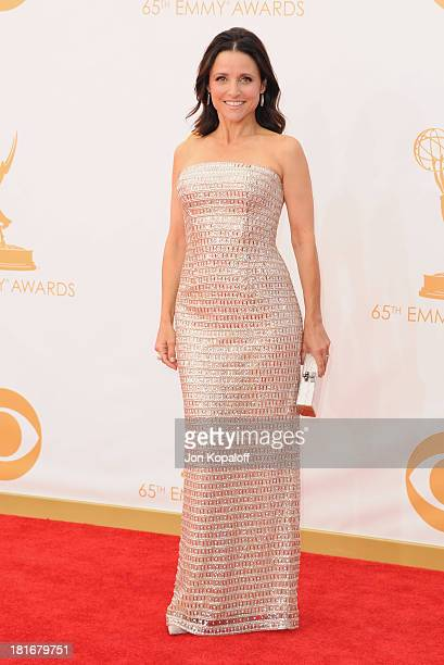Actress Julia LouisDreyfus arrives at the 65th Annual Primetime Emmy Awards at Nokia Theatre LA Live on September 22 2013 in Los Angeles California