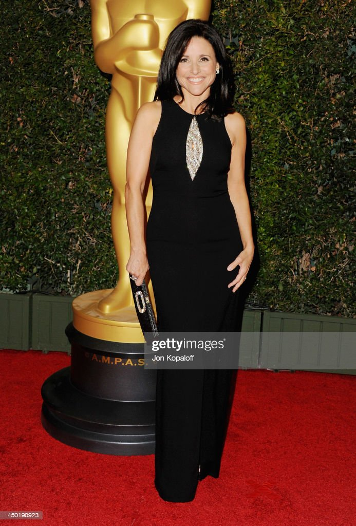 Actress <a gi-track='captionPersonalityLinkClicked' href=/galleries/search?phrase=Julia+Louis-Dreyfus&family=editorial&specificpeople=208965 ng-click='$event.stopPropagation()'>Julia Louis-Dreyfus</a> arrives at The Board Of Governors Of The Academy Of Motion Picture Arts And Sciences' Governor Awards at Dolby Theatre on November 16, 2013 in Hollywood, California.