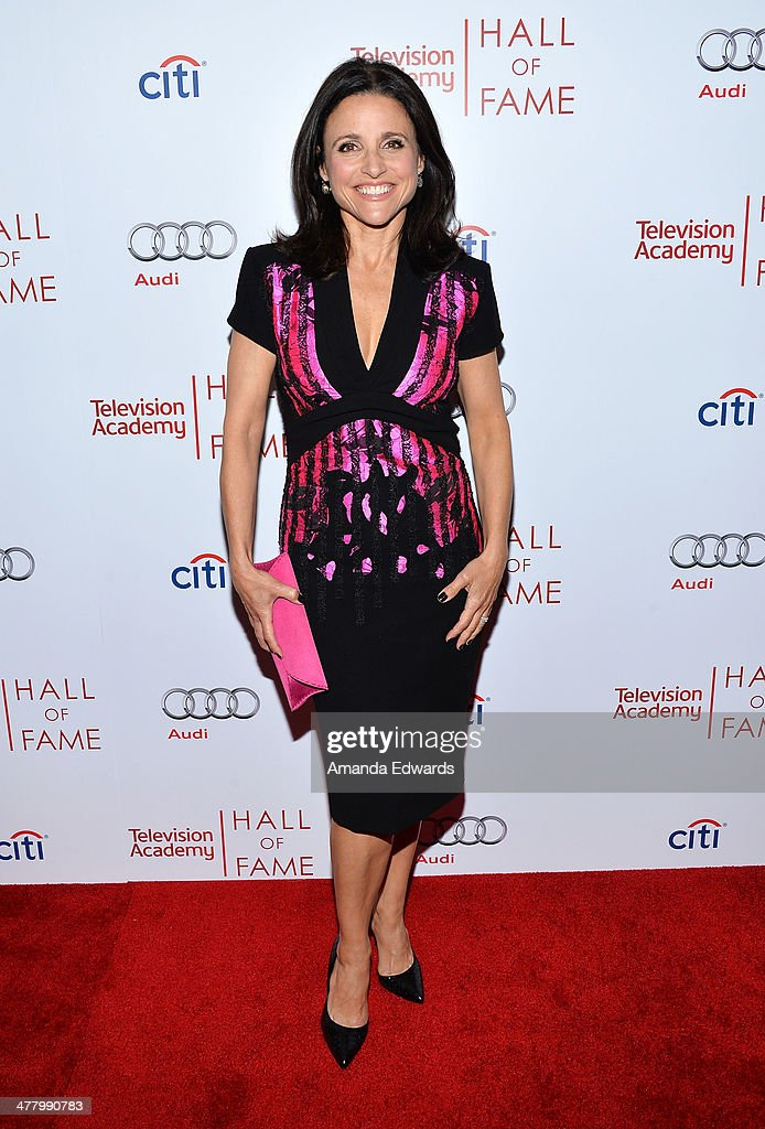 Actress <a gi-track='captionPersonalityLinkClicked' href=/galleries/search?phrase=Julia+Louis-Dreyfus&family=editorial&specificpeople=208965 ng-click='$event.stopPropagation()'>Julia Louis-Dreyfus</a> arrives at the The Television Academy's 23rd Hall Of Fame Induction Gala at The Regent Beverly Wilshire Hotel on March 11, 2014 in Beverly Hills, California.