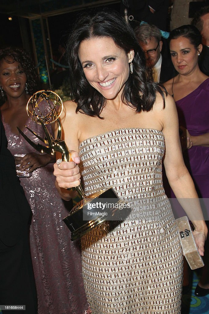 Actress <a gi-track='captionPersonalityLinkClicked' href=/galleries/search?phrase=Julia+Louis-Dreyfus&family=editorial&specificpeople=208965 ng-click='$event.stopPropagation()'>Julia Louis-Dreyfus</a> attends HBO's official Emmy after party at The Plaza at the Pacific Design Center on September 22, 2013 in Los Angeles, California.