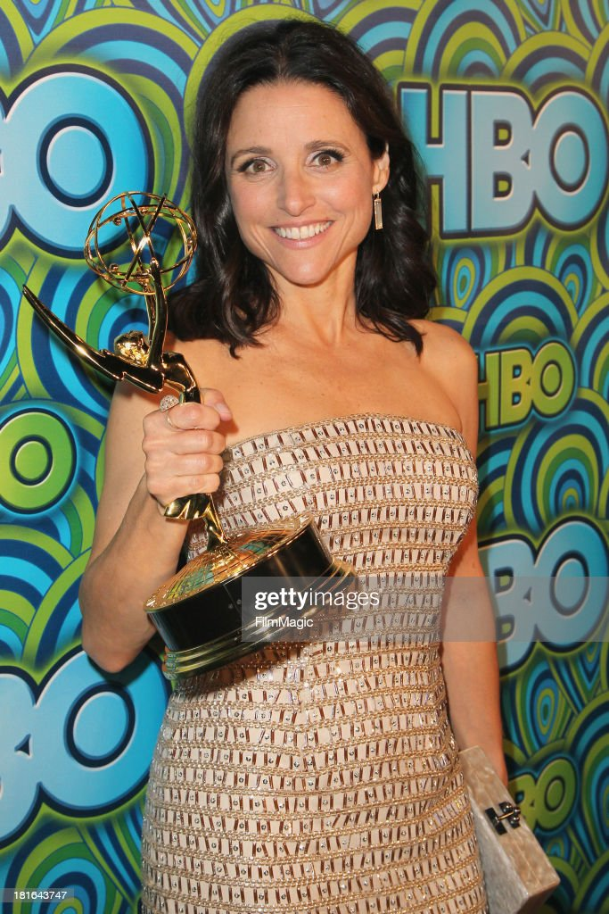 Actress <a gi-track='captionPersonalityLinkClicked' href=/galleries/search?phrase=Julia+Louis-Dreyfus&family=editorial&specificpeople=208965 ng-click='$event.stopPropagation()'>Julia Louis-Dreyfus</a> attends HBO's official Emmy after party in The Plaza at the Pacific Design Center on September 22, 2013 in Los Angeles, California. (Photo by FilmMagic/FilmMagic))