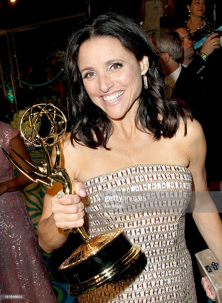 Actress <a gi-track='captionPersonalityLinkClicked' href=/galleries/search?phrase=Julia+Louis-Dreyfus&family=editorial&specificpeople=208965 ng-click='$event.stopPropagation()'>Julia Louis-Dreyfus</a> attends HBO's official Emmy after party in The Plaza at the Pacific Design Center on September 22, 2013 in Los Angeles, California.