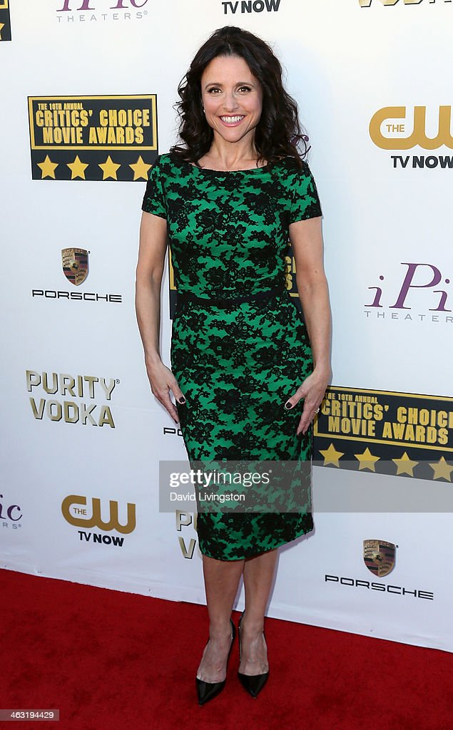 Actress <a gi-track='captionPersonalityLinkClicked' href=/galleries/search?phrase=Julia+Louis-Dreyfus&family=editorial&specificpeople=208965 ng-click='$event.stopPropagation()'>Julia Louis-Dreyfus</a> attends the 19th Annual Critics' Choice Movie Awards at Barker Hangar on January 16, 2014 in Santa Monica, California.