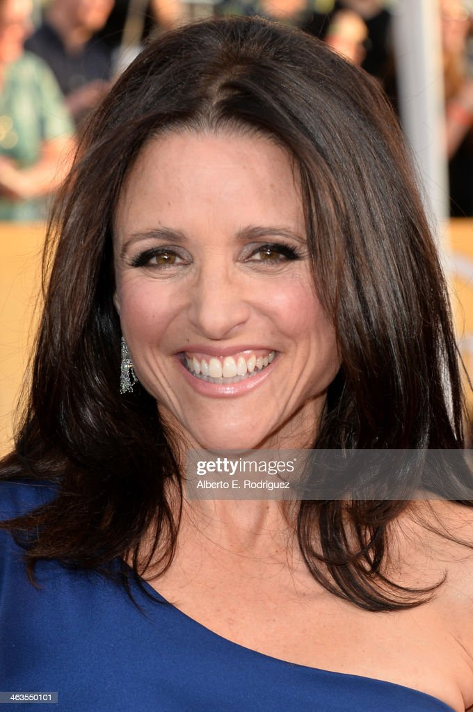 Actress <a gi-track='captionPersonalityLinkClicked' href=/galleries/search?phrase=Julia+Louis-Dreyfus&family=editorial&specificpeople=208965 ng-click='$event.stopPropagation()'>Julia Louis-Dreyfus</a> attends the 20th Annual Screen Actors Guild Awards at The Shrine Auditorium on January 18, 2014 in Los Angeles, California.