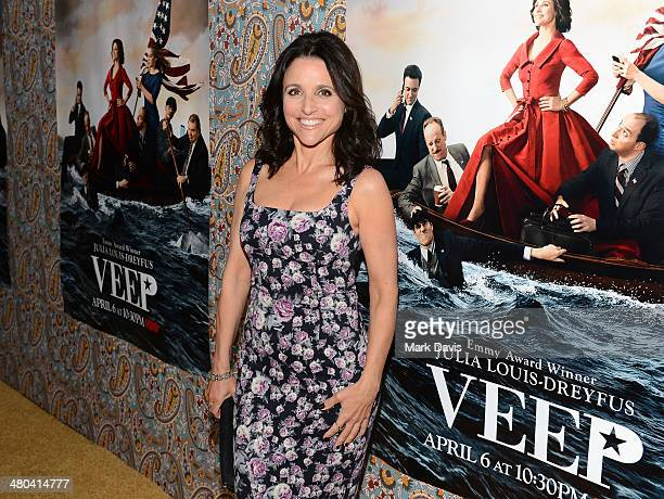 Actress Julia LouisDreyfus attends the 'VEEP' season 3 premiere at Paramount Studios on March 24 2014 in Hollywood California