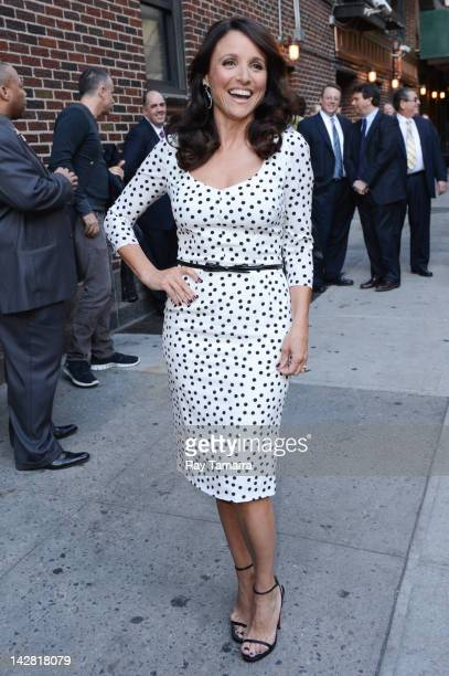Actress Julia LouisDreyfus enters the 'Late Show With David Letterman' taping at the Ed Sullivan Theater on April 12 2012 in New York City