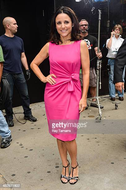 Actress Julia LouisDreyfus leaves the 'Good Morning America' taping at ABC Times Square Studios on July 31 2014 in New York City