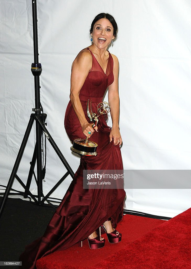 Actress Julia Louis-Dreyfus poses in the press room at the 64th Primetime Emmy Awards at Nokia Theatre L.A. Live on September 23, 2012 in Los Angeles, California.